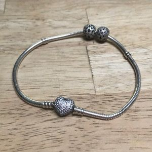 Pandora pave heart bracelet with charms